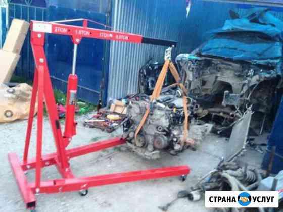 Гидравлический гаражный кран, установка/снятие двс Тольятти