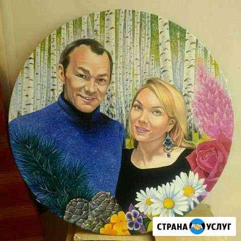 Напишу портрет на холсте на основе виниловой пласт Бийск