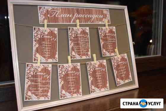 План рассадки гостей и номерные таблички длястолов Новомосковск