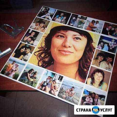 Печать на холсте фотографий, портреты, коллажи, ка Хабаровск
