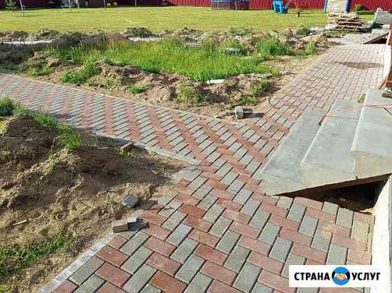 Укладка тротуарной плитки, брусчатки Великий Новгород