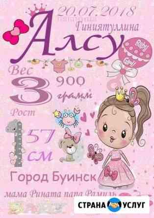 Детская метрика,постеры,плакаты Ульяновск