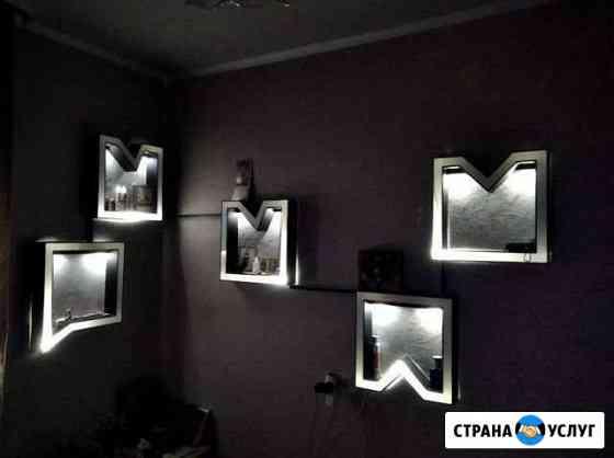 Изготовление полочек с подсветкой под заказ эксклю Курск