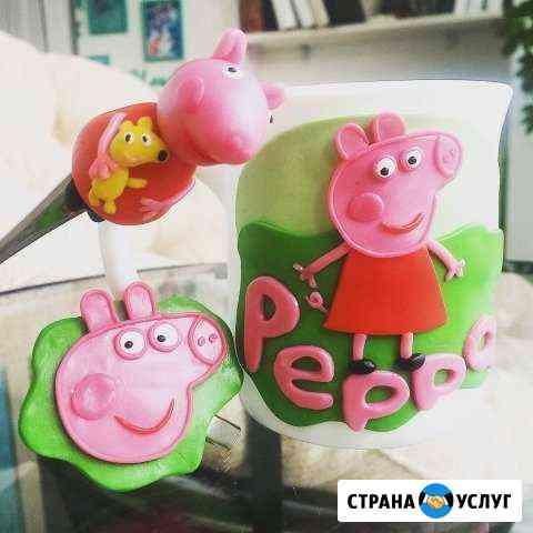 Кружки,вкусные ложки с декором из полимерной глины Красноярск