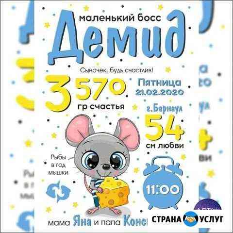 Метрика, детские постеры, дизайн, полиграфия Барнаул