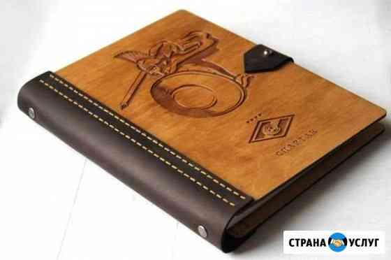 Блокнот c деревянной обложкой Узловая