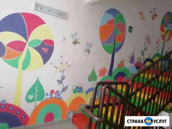 Оформление стен. Роспись стен Обь