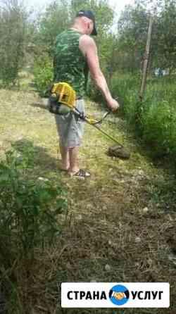 Покос травы и вспашка земли мотоблоком Рыбное