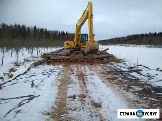 Строительство лежневых дорог, вырубка газонефтепро Ленск