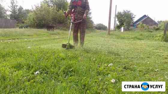 Покос травы Триммером хускварна Грязи