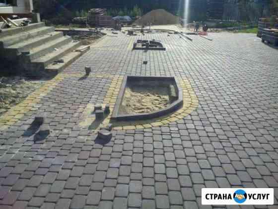 Укладка тротуарной плитки. бетонные работы. заливк Брянск