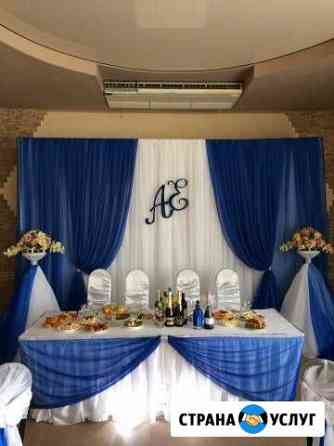 Украшение свадебного зала (ткань, шары, цветы) Смоленск