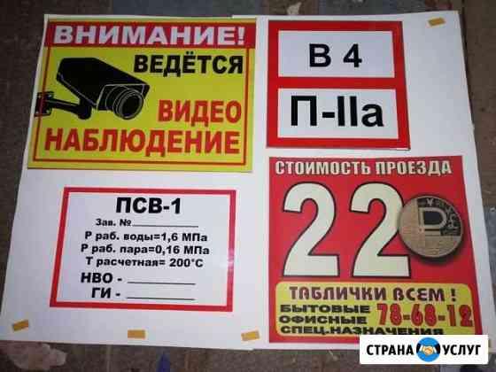 Изготовление табличек Астрахань