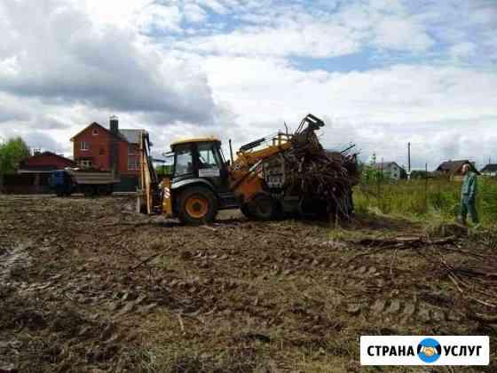 Выкорчевывание пней планировка,вывоз с участка кор Красноярск
