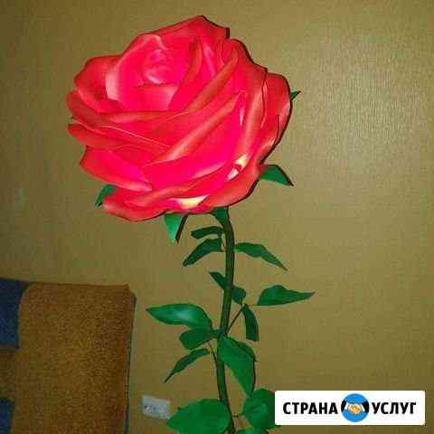 Ростовые цветы, роза-торшер, светильники Донской