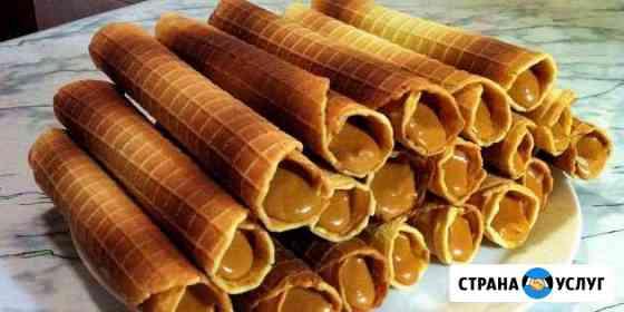 Вафли с варенной сгущёнкой (вафельные трубочки) Омск