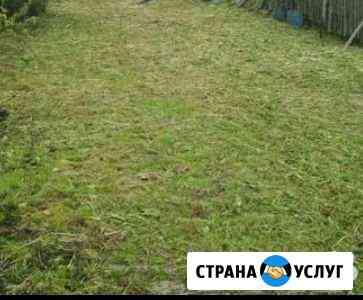 Покос травы, мотокосой Омск
