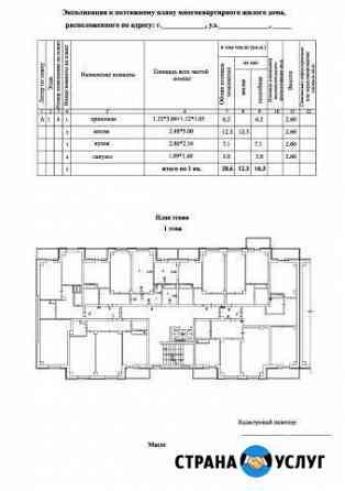 Экспликация квартиры для ипотеки, оценки, техпаспо Нижний Кисляй