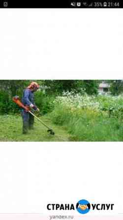 Покос травы триммером Михайлов