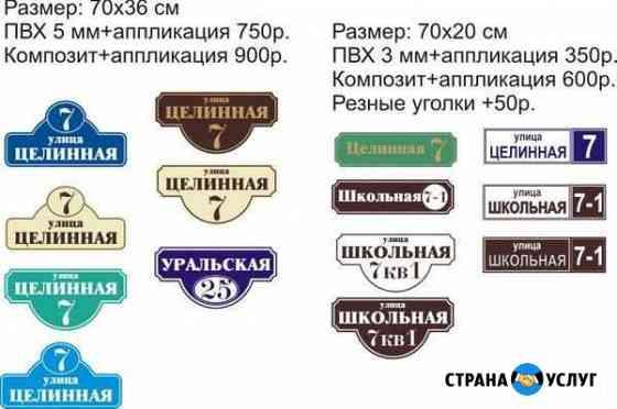 Изготовление адресных табличек Барнаул