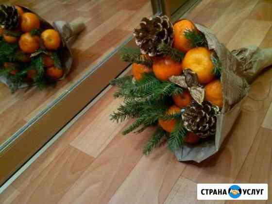 Съедобный букет из фруктов, сухофруктов, колбасы Нижнекамск