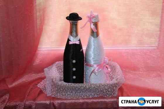 Декоративное оформление свадебных бутылок шампанск Соликамск