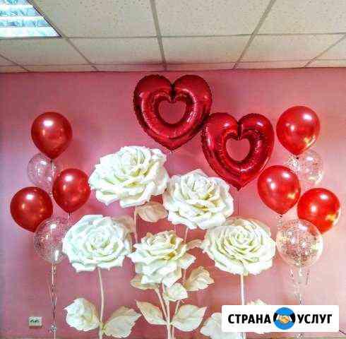 Украшение шарами, ростовыми цветами Белоярский