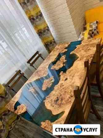 Столы из слэбов дерева и эпоксидной смолы Астрахань